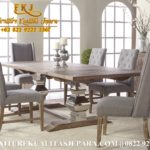 Gambar Set Meja Makan Minimalis Jati Kursi 6 Gray Wash Classic Furniture