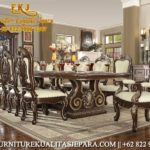 Set Meja Makan Mewah Minimalis Jati Tebaru Model Furniture Ukiran